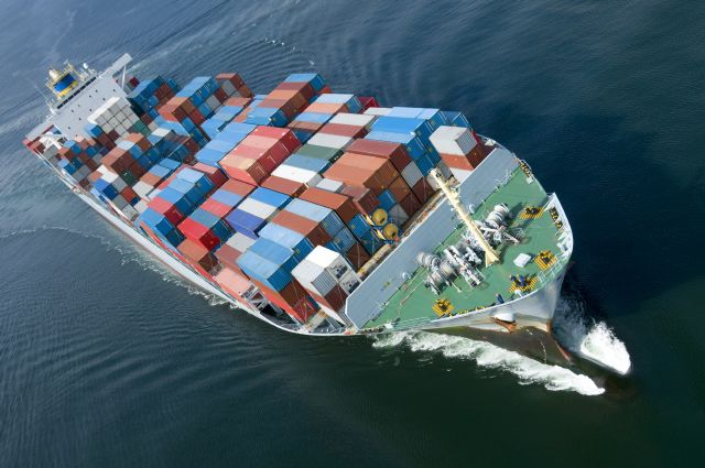 Frakt, handel, båt, containrar